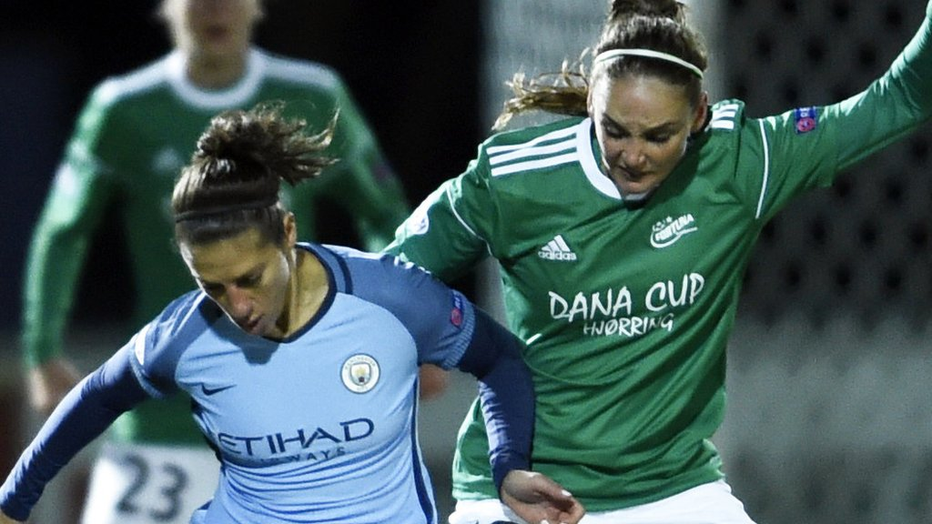 Lloyd scores first Man City Women goal in first-leg win in Denmark