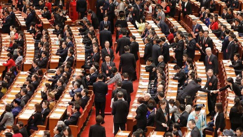 Los delegados en plena sesión del Congreso Nacional del Pueblo de China
