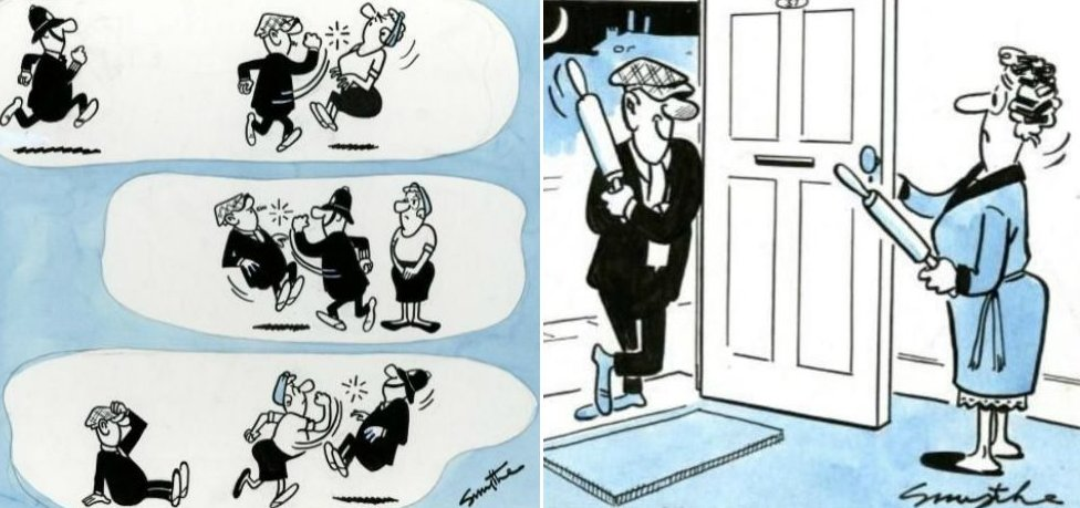 Two cartoons showing Andy attack or threaten Flo