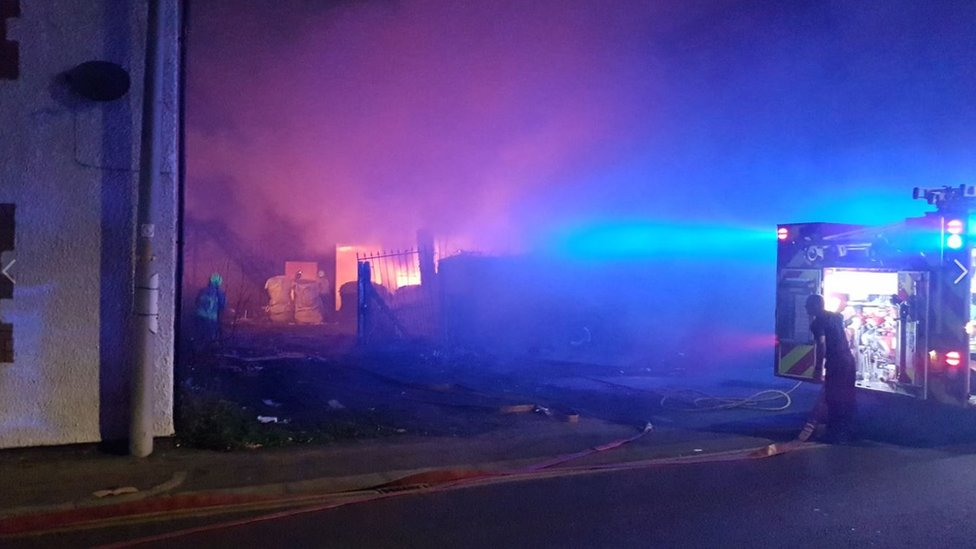 Crews tackle blaze at disused building in Wigston