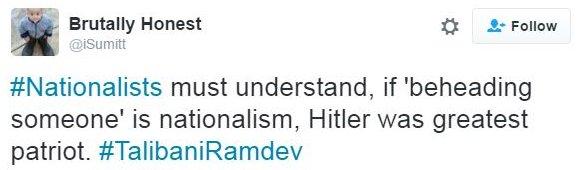 Tweet comparing Ramdev's remarks to Hitler