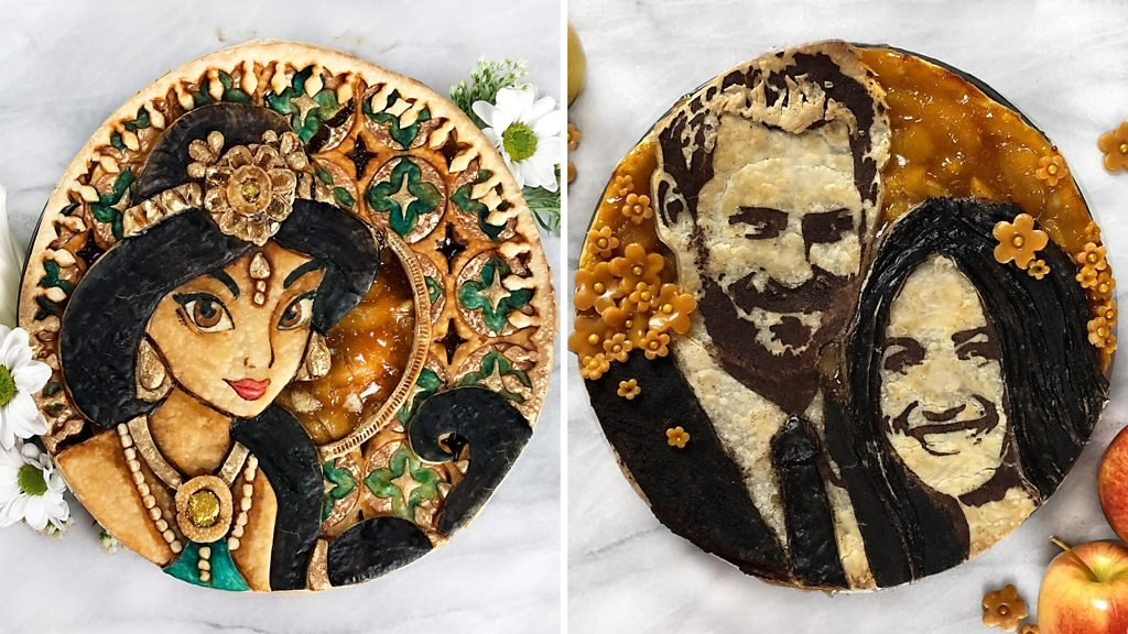 A woman who makes pies look like paintings
