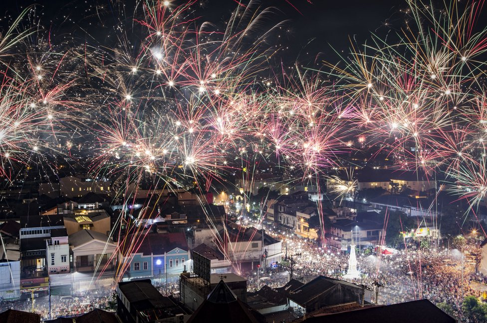 Fireworks illuminate the city's skyline during New Year's Eve celebrations of 2018 on on January 1, 2018 in Yogyakarta, Indonesia.
