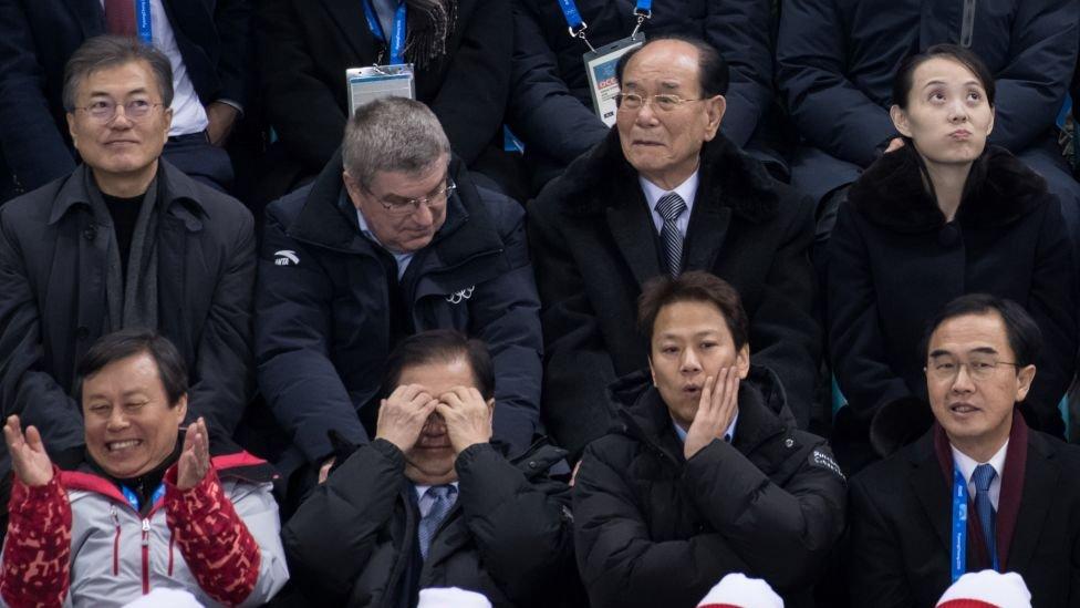 El partido entre las Coreas unificadas y Suiza contó con la presencia de importantes figuras políticas.