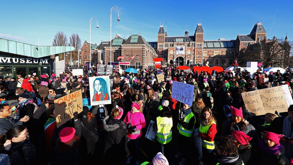 Protesta de Womens March en Ámsterdam