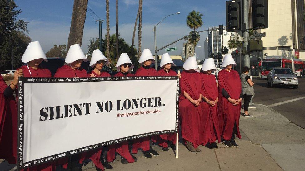 Protesta silenciosa en las cercanías del hotel The Beverly Hilton de Los Ángeles (Foto: Beatriz Díez)