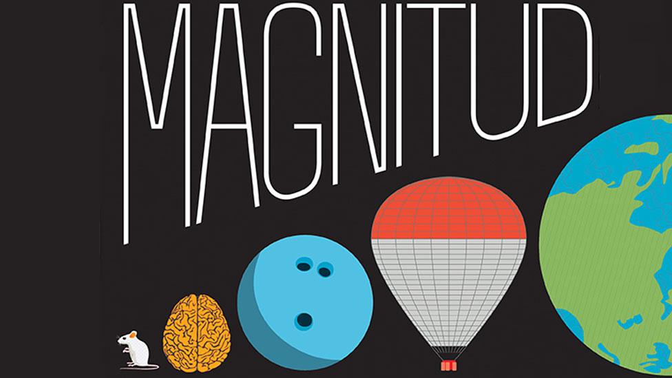 Detalle de la portada del libro Magnitud: la escala del Universo, de Kimberly Arcand y Megan Watzke, con ilustraciones de Katie Peek