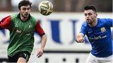 Glentoran's Fra McCaffrey and Glenavon striker Eoin Bradley battle for possession