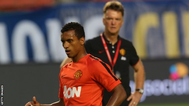 Nani (left) and Manchester United manager Louis Van Gaal