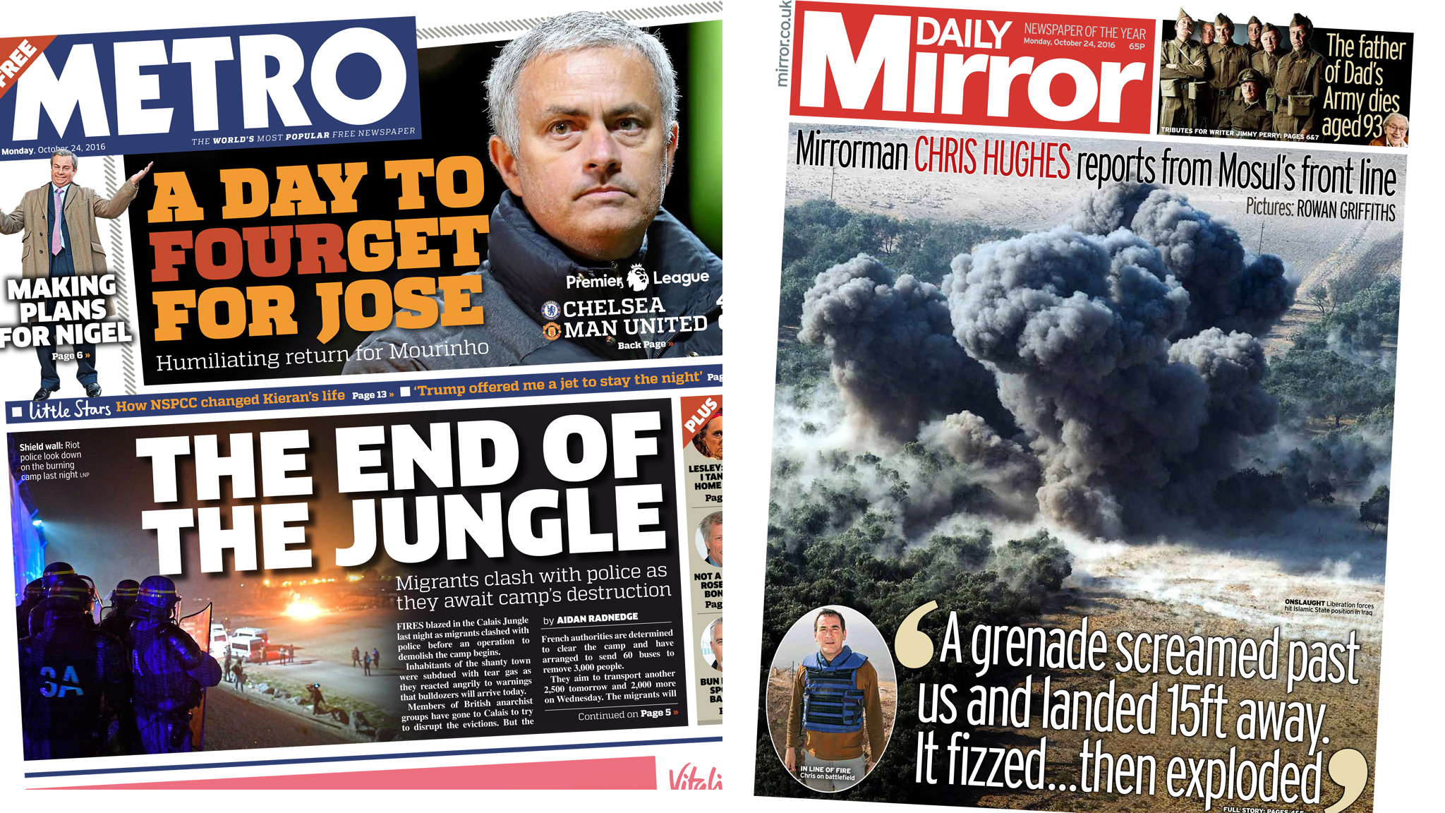 Newspaper headlines: Calais clashes and Mosul advance