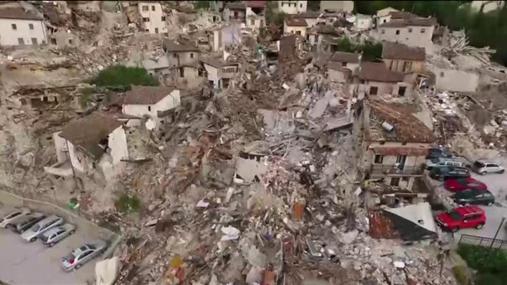 Drone shows extent of Italy quake destruction