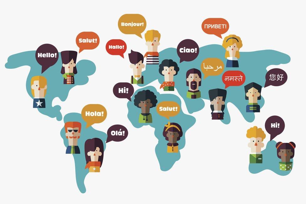 Saludos en distintos idiomas.