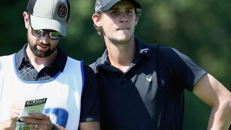 Thomas Pieters (right) with caddie