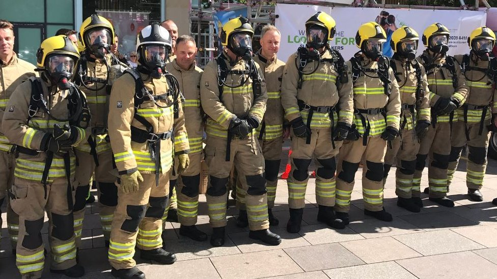 Cardiff firefighters in 'world record' ladder climb