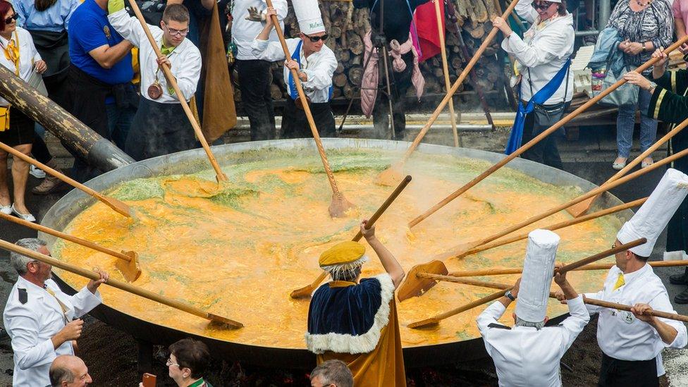 Belgians eat giant omelette in Malmedy despite egg scare