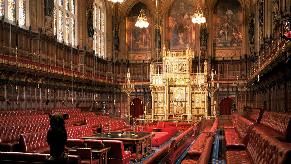 Interior view of House of Lords chamber, empty