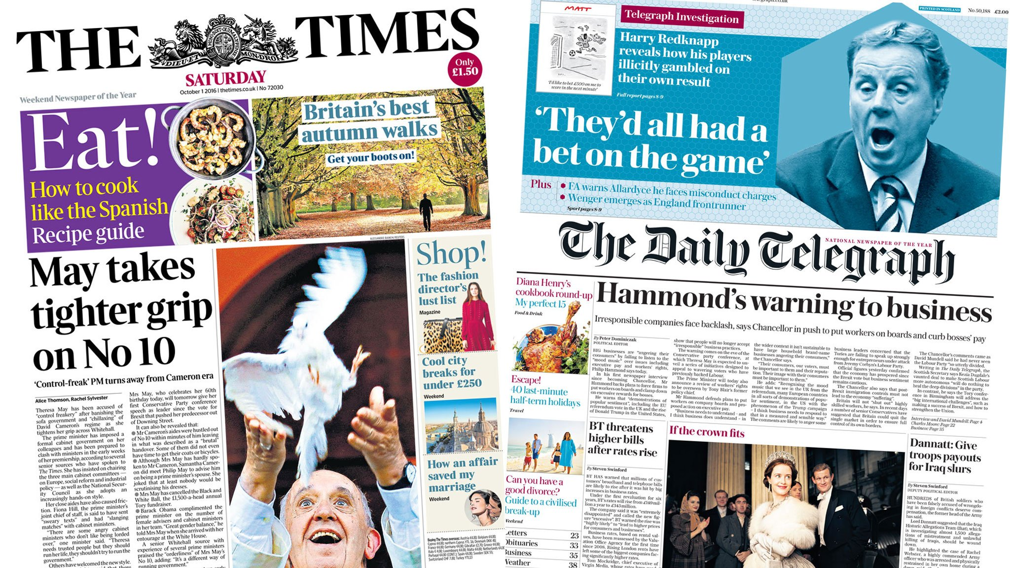 Newspaper headlines: May's grip on No 10, and saving builders from Brexit