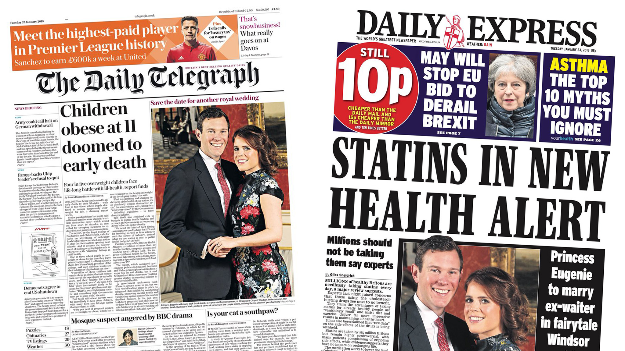 Newspaper headlines: Obese children 'doomed to early death'