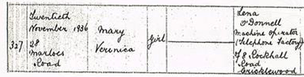Certificado de nacimiento de Anthea, donde dice que se llamaba Mary Veronica.