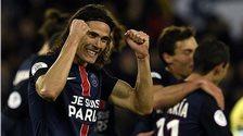 Edinson Cavani celebrates scoring for Paris St-Germain against Troyes