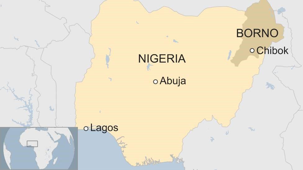 Mapa mostrando la ubicación de Chibok