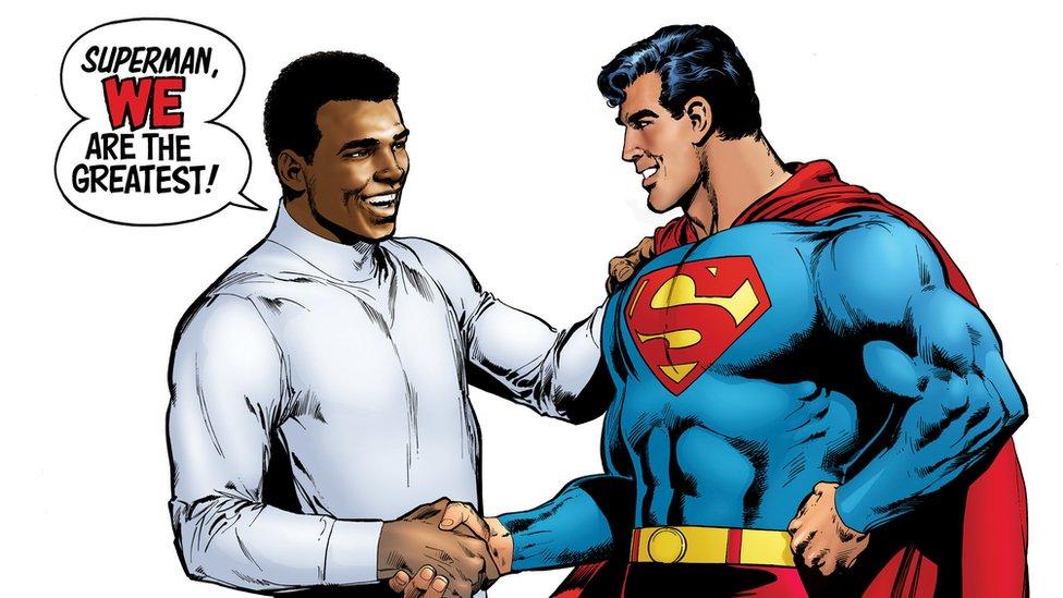 Muhammad Ali and Superman shake hands