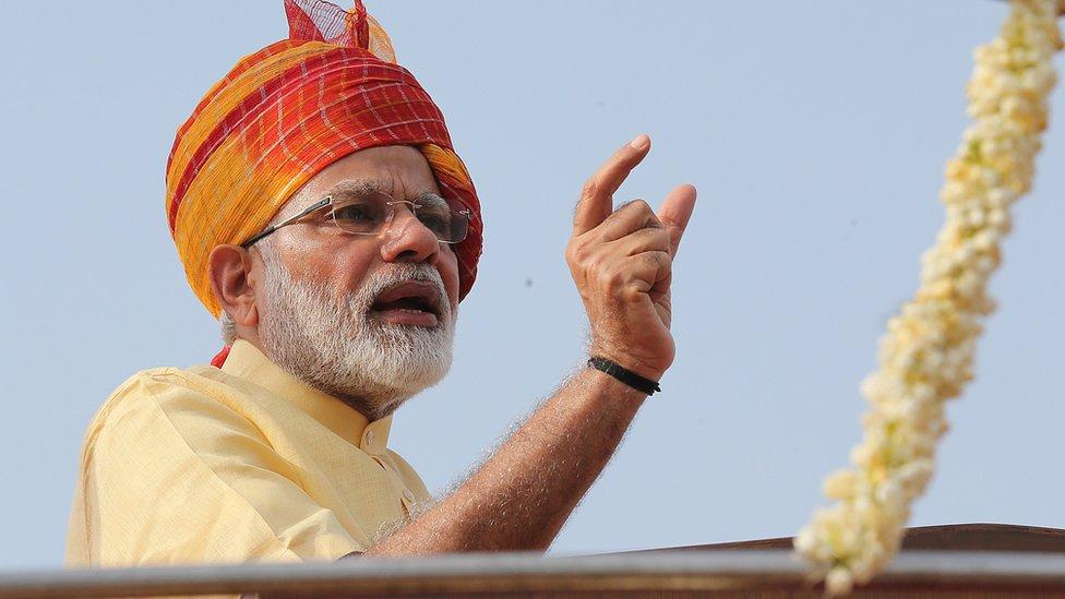 穆迪在新德里慶祝印度獨立70週年典禮上(15/8/2017)