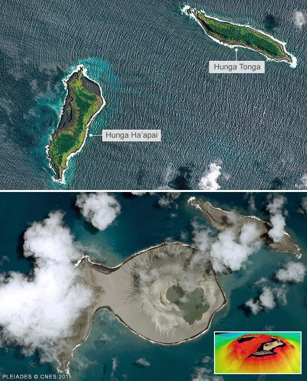 Sitio en el Pacífico donde emergió la nueva isla antes y después de la erupción. (Foto: Pleiades CNES)