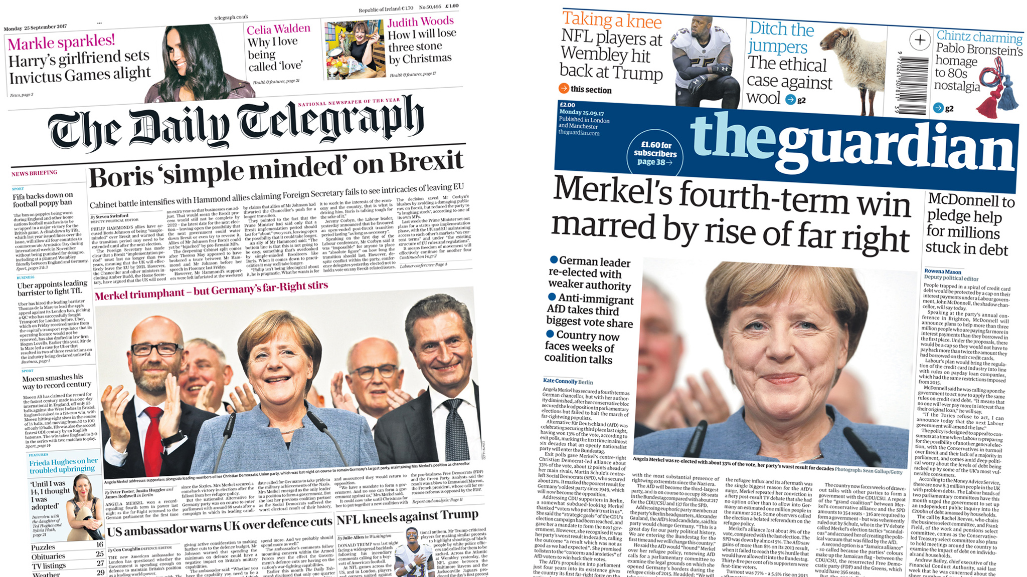 The Papers: Brexit battle and Germany election