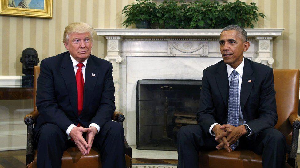 د عکسونو البوم: اندېښمنه فضا کې د اوباما او ټرمپ لیدنه