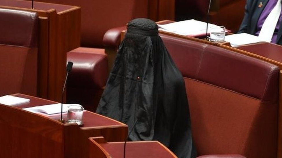 Politician dons burka in Australian Senate