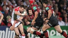 Ulster wing Tommy Bowe is tackled in last year's quarter-final against Saracens