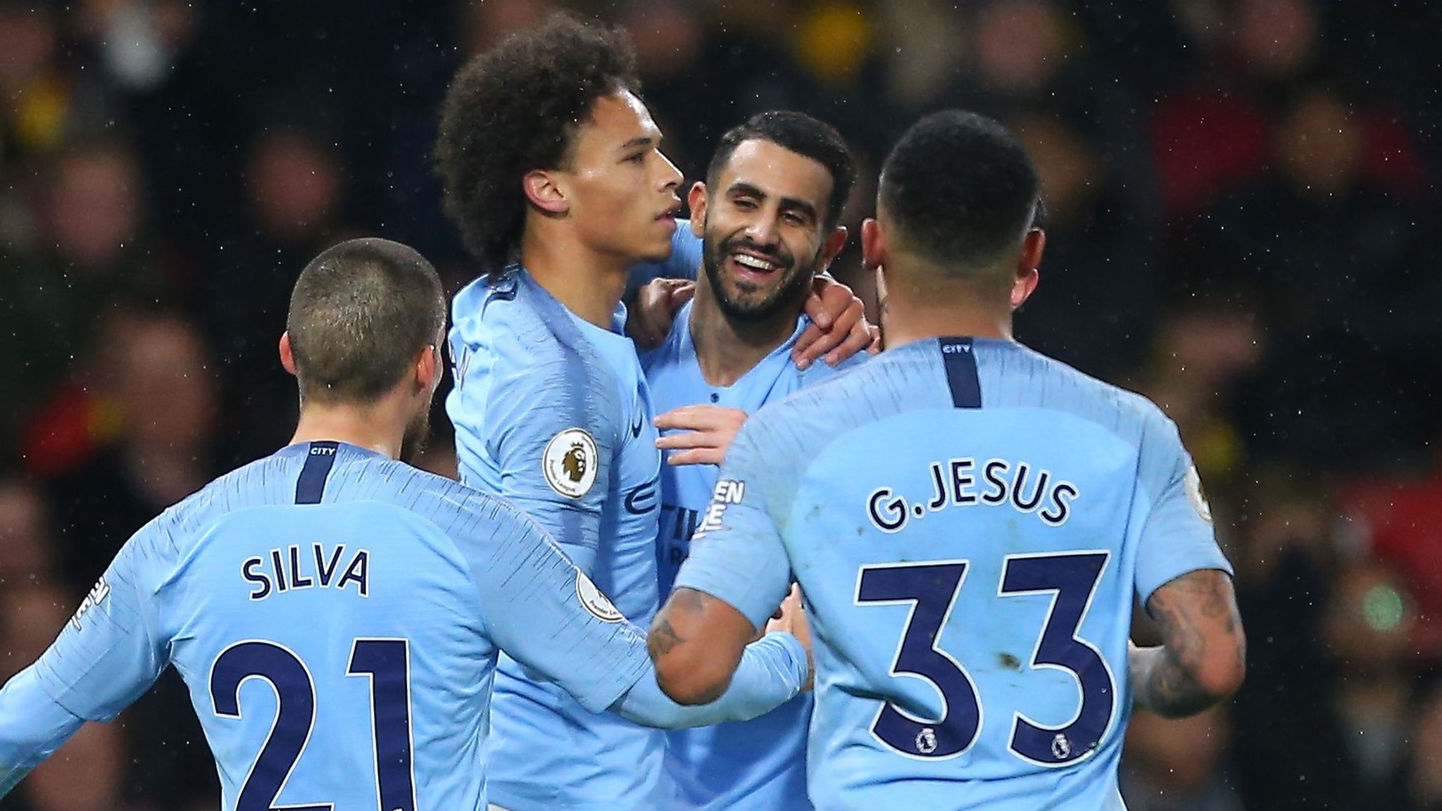 Man City win at Watford to give five points clear