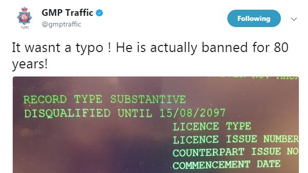 Bumbling police tweet '80-year ban' for dangerous driver