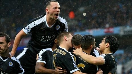 Leicester celebrate Robert Huth's early goal