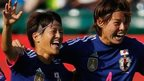 Japan celebrate victory over England in the semi-final of the Women's World Cup