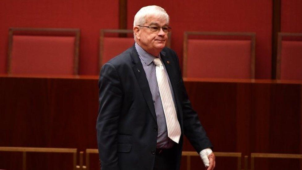 94276020e Australian senator sorry for wiping blood on ex-leader s door - Senator  Brian Burston had been involved in a scuffle with Senator Pauline Hanson s  aide.