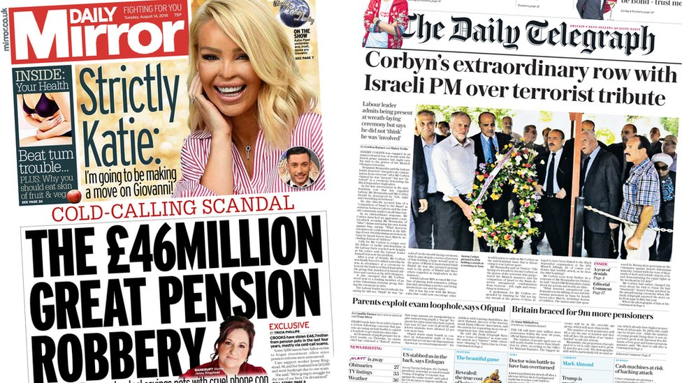 Newspaper headlines: £46m scammed from pensions and Corbyn's wreath critics
