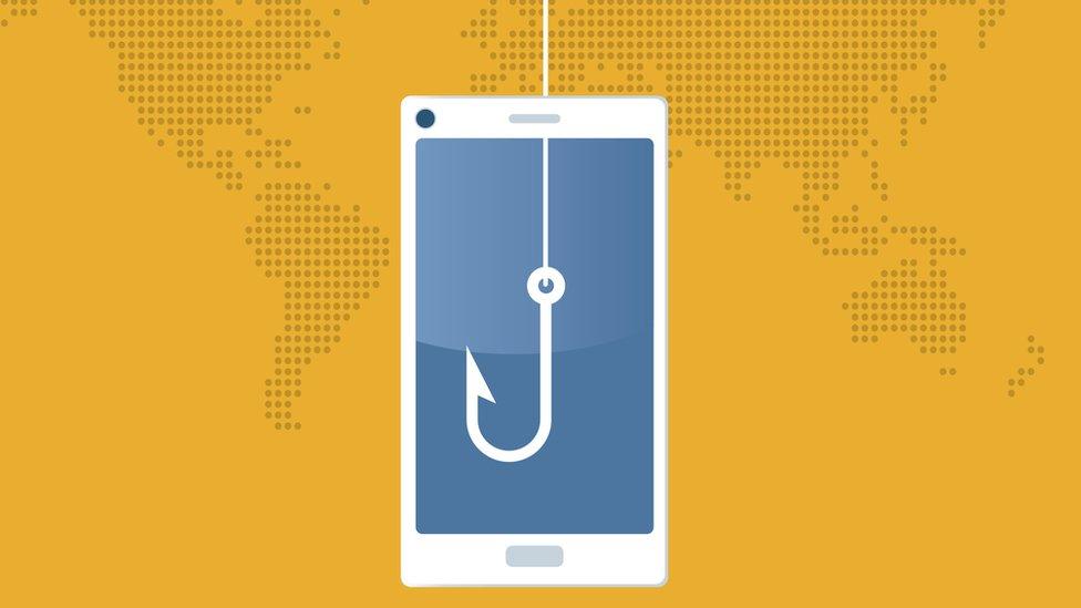 Ilustración de un celular con un anzuelo.