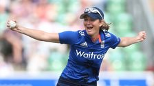 Charlotte Edwards celebrates a catch