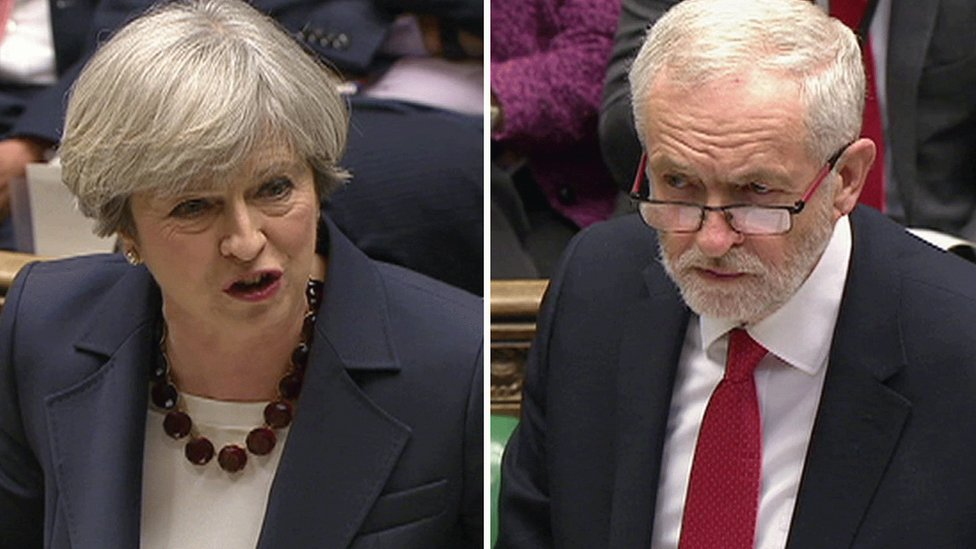 PMQs: May and Corbyn set out election 'choices'