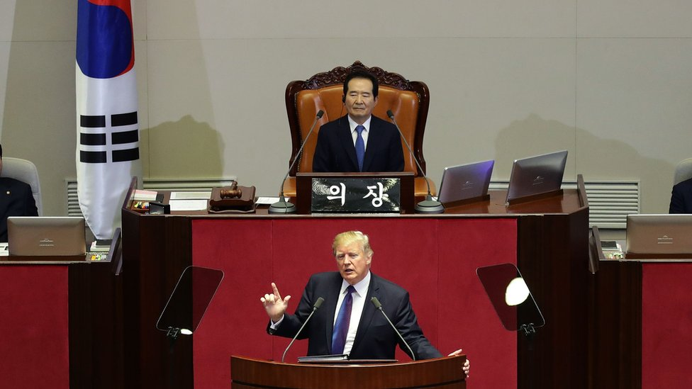 Trump ofreció un discurso en el Parlamento surcoreano durante su visita de Estado al país.