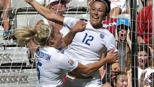 Lucy Bronze celebrates scoring for England at the World Cup