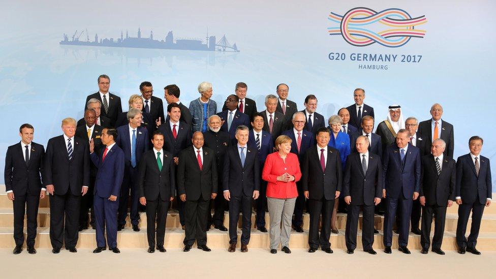 Los presidentes del G20 en Hamburgo, Alemania.