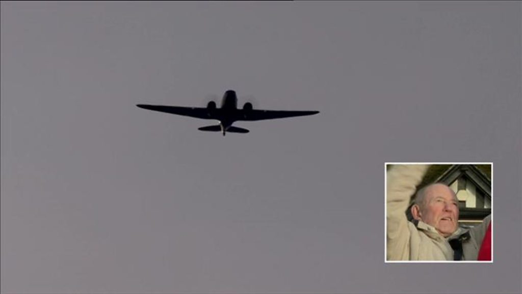 The fly-past honours 10 men who died when their plane crashed in Sheffield.