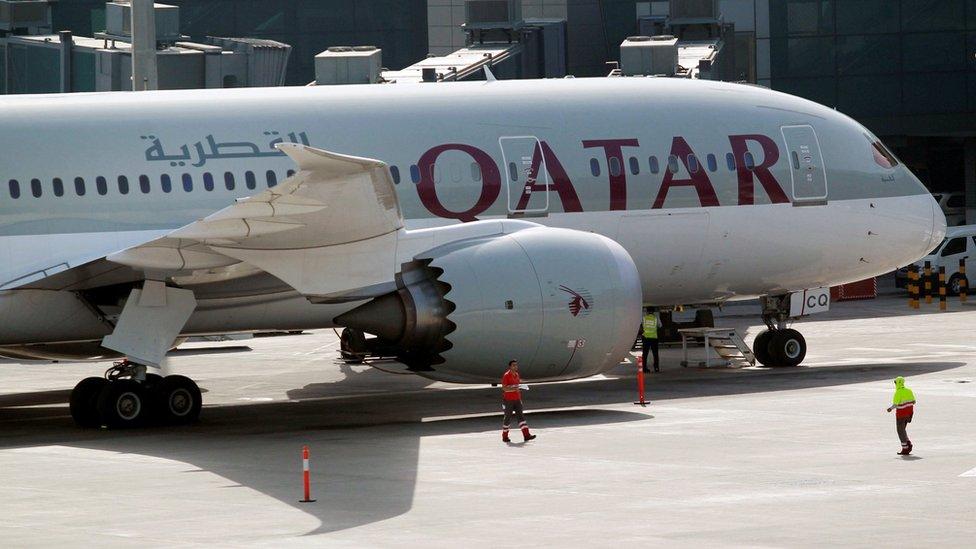 A Qatar Airways aircraft at Hamad International Airport in Doha, Qatar, June 7, 2017