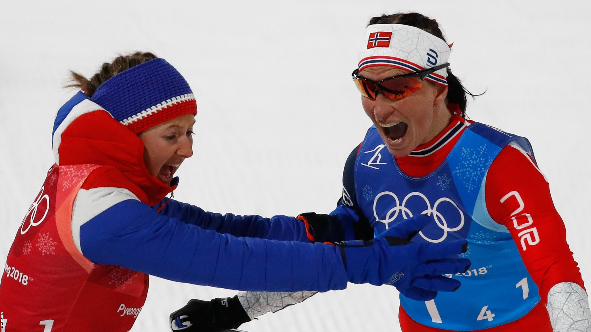 Winter Olympics: Marit Bjorgen ties medal record as Norway win women's 4x5km relay