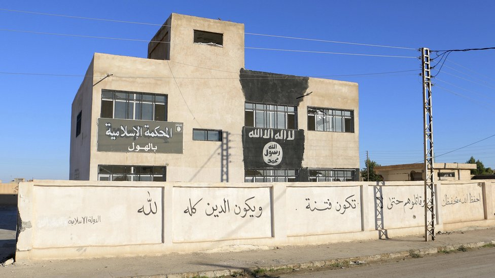 A building used by Islamic State militants as an Islamic court in the town of al-Hawl, Syria (14 November 2015)