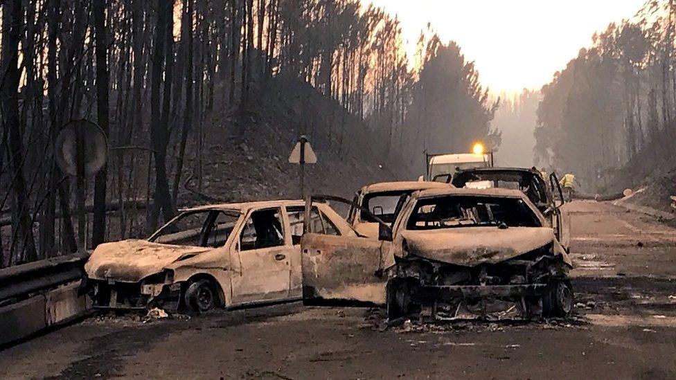 Autos quemados en Pedrógao Grande
