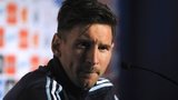 Argentinian football team player Lionel Messi gestures during a press conference in La Serena, Chile on 9 June 2015,